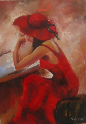 Lady- in- red-Öl-50x70