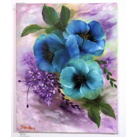 blaue Mohnblumen Ölbild