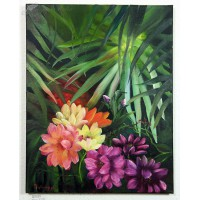 Dschungelblumen Ölbild
