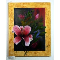 Lilie mit Goldrand Ölbild