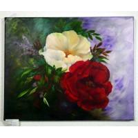 gelbe und rote Rose Ölbild