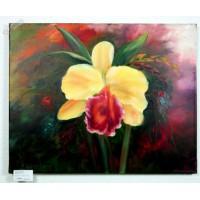 gelbe Orchidee Ölbild