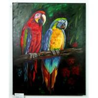 2 Papageien Ölbild