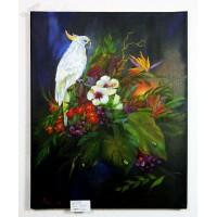 Papagei mit Exotischen Blumen Ölbild