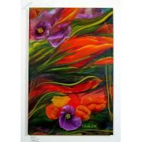 Abstrakte Blumen Ölbild
