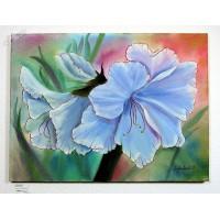blaue Lilien Ölbild