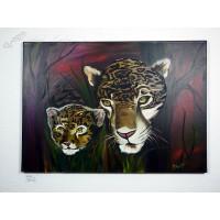 Leopard mit Baby Ölbild
