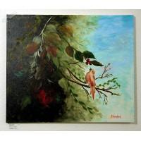 Vogel im Blätterwald Ölbild