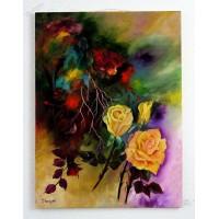 gelbe Rose mit abstrakten Hintergrund Ölbild