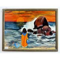 2 Mädchen am Strand Ölbild