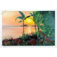 Sonnenuntergang an der Sudsee Ölbild