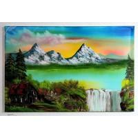 Bergsee mit Wasserfall Ölbild