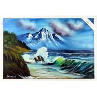 Meeresbild mit Berg Ölbild