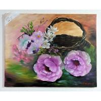 Korb mit Rosen Ölbild
