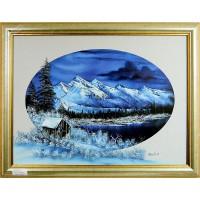 Blaues Winterbild Ölbild
