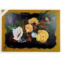 Blumentraum mit Muschel und Vogel Ölbild