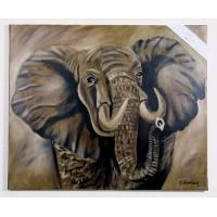 Afrikanischer Elefant Ölbild