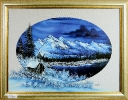 Blaues Winterbild Bob Ross Ölbild 10451