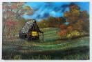 Huette im Herbstwald Bob Ross Ölbild 10339
