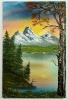 Sonnenaufgang am Bergsee Bob Ross Ölbild 10261