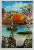 Sonnenaufgang Am Birkenweiher Bob Ross Ölbild 10330