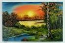 Waldsee in der Abenddaemmerung Bob Ross Ölbild 10387