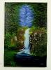 Wasserfall im Wald Bob Ross Ölbild 10260