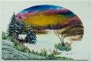 Winterlandschaft Bob Ross Ölbild 10340