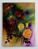 gelbe Rose mit abstrakten Hintergrund Ilse Wernhard Ölbild 10280
