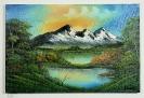 Berglandschaft mit See Bob Ross Ölbild 10245