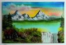 Bergsee mit Wasserfall Bob Ross Ölbild 10353