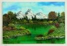 Gruener bergsee Bob Ross Ölbild 10246