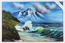 Meeresbild mit Berg Bob Ross Ölbild 10440
