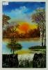 Sonnenaufgang am Wasserfall Bob Ross Ölbild 10310