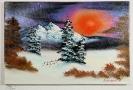 Sonnenuntergang im Winter Bob Ross Ölbild 10267