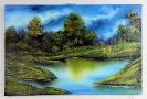 Waldsee Bob Ross Ölbild 10371