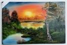 Waldweiher im Sonnenuntergang Bob Ross Ölbild 10497