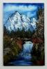 Wasserfall im Gebirge Bob Ross Ölbild 10274