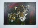Leopard mit Baby Bob Ross Ölbild 10219